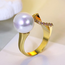 Elegant Jewelry White pearl ring for women Unique design Ladies Gold-color CZ Fashion Trend Top selling Hot seller design(Hong Kong)