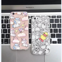 Rainbow Unicorn Duck Cute Case Cover For iPhone 6 6s Plus 7 7 Plus Cartoon TPU Soft Cell Phone Case Capa with Dust Plug   C185
