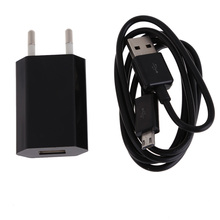 2 in 1 USB travel wall charger with 1meter micro usb Charging Cable kits Power Adapter EU Plug for Android Mobile Phones