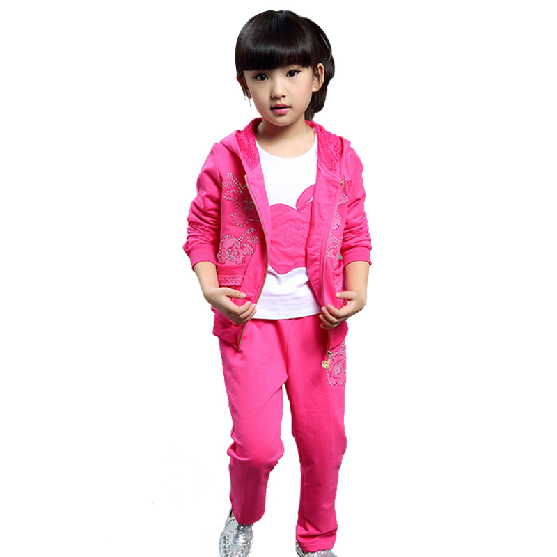 Children Clothing Set Casua Hood Cotton Tracksuit For Girls Roupa Menina Three-pieces Zipper Kids Sport Suit With Shirt<br><br>Aliexpress