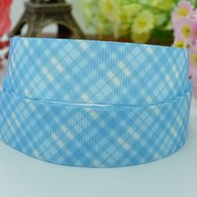 Blue plaid hairbow crafts accessories 22mm clothing accessories character cheap printed grosgrain ribbon 50 yard 7/8 roll