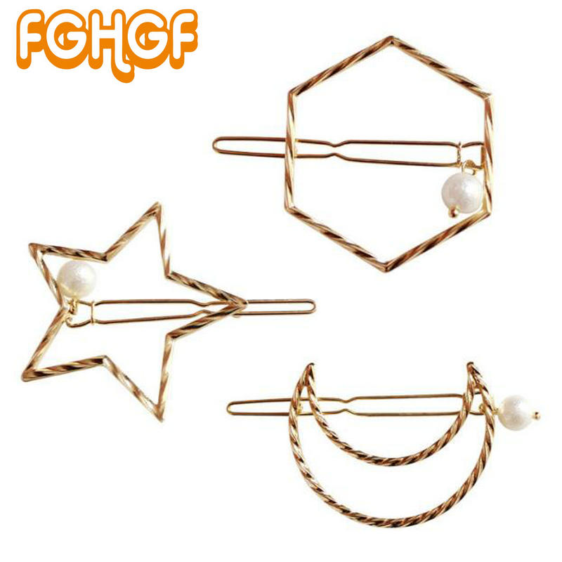 Adorable Hair Clip Hexagon Blank Frame Pearl UV Resin Craft Accessories Carved Moon Star Metal Open bezel Jewelry DIY
