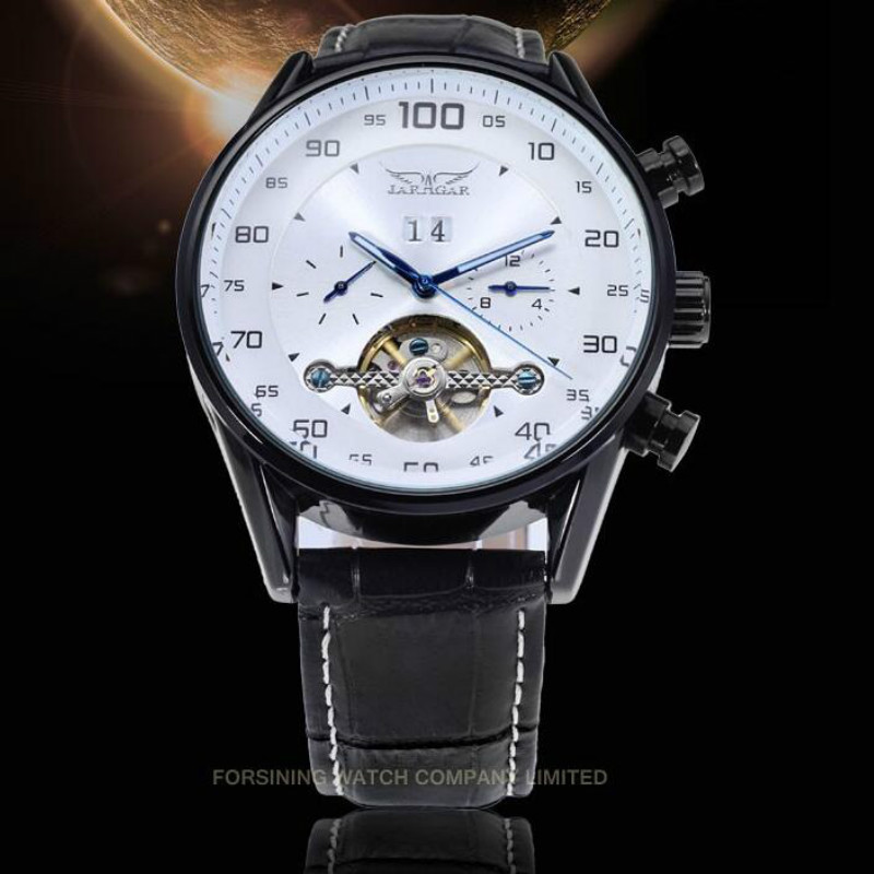Jaragar Mens Watch Casual Fashion Automatic Multifunction Genuine Black Leather Strap Wristwatch Color White<br>