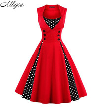 S-4XL Women Robe Pin Up Dress Retro 2017 Vintage 50s 60s Rockabilly Dot Swing Summer female Dresses Elegant Tunic Vestido 05(China)