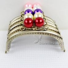 10pcs High Quality 12.5 CM pearl head  antique bronze Smooth Metal Purse Frame handle Completed Holes wholesale ,Freeshipping