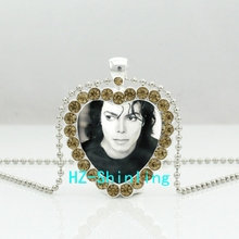 New Michael Jackson Crystal Necklace Moonwalk Long Jewelry Rock Star Crystal Heart Pendant Necklace(China)