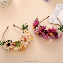 2016 New Simulation Rose flower hair bands Bride Headband Wedding Party Prom Festival Decor Princess Floral Wreath Headpiece
