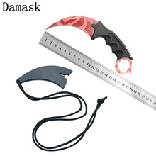 Damask CSGO Counter Strike Karambit Fixed Blade Outdoor Knife Sharp Pattern Blade Camping Hunting Fighting Knife Tactical Tools(China)