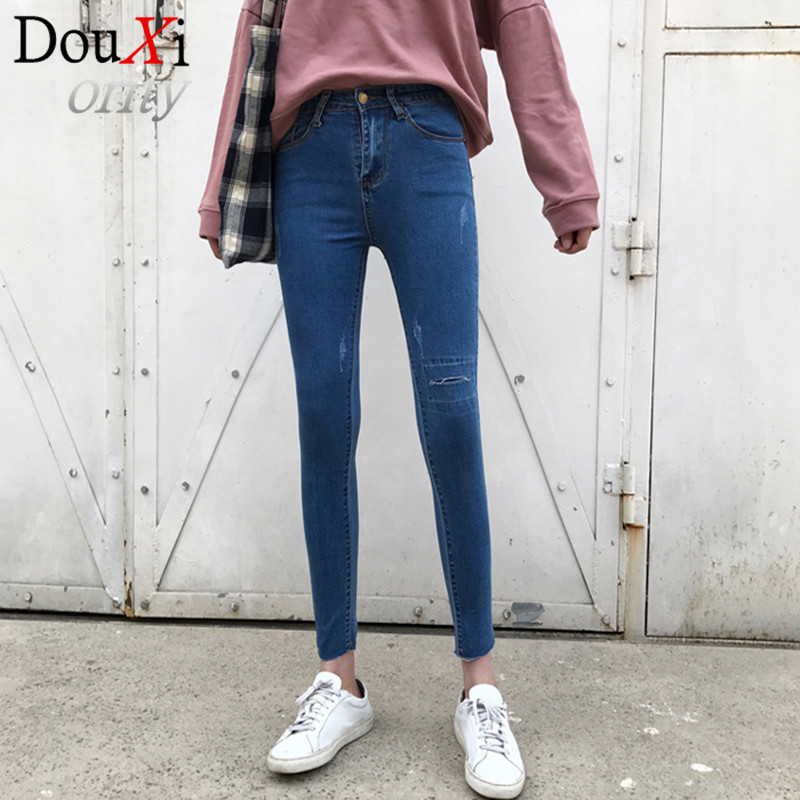 Hole Women Jeans Blue High Waist Ripped Jeans Women, High Strench Pencil Skinny Jeans PantsОдежда и ак�е��уары<br><br><br>Aliexpress
