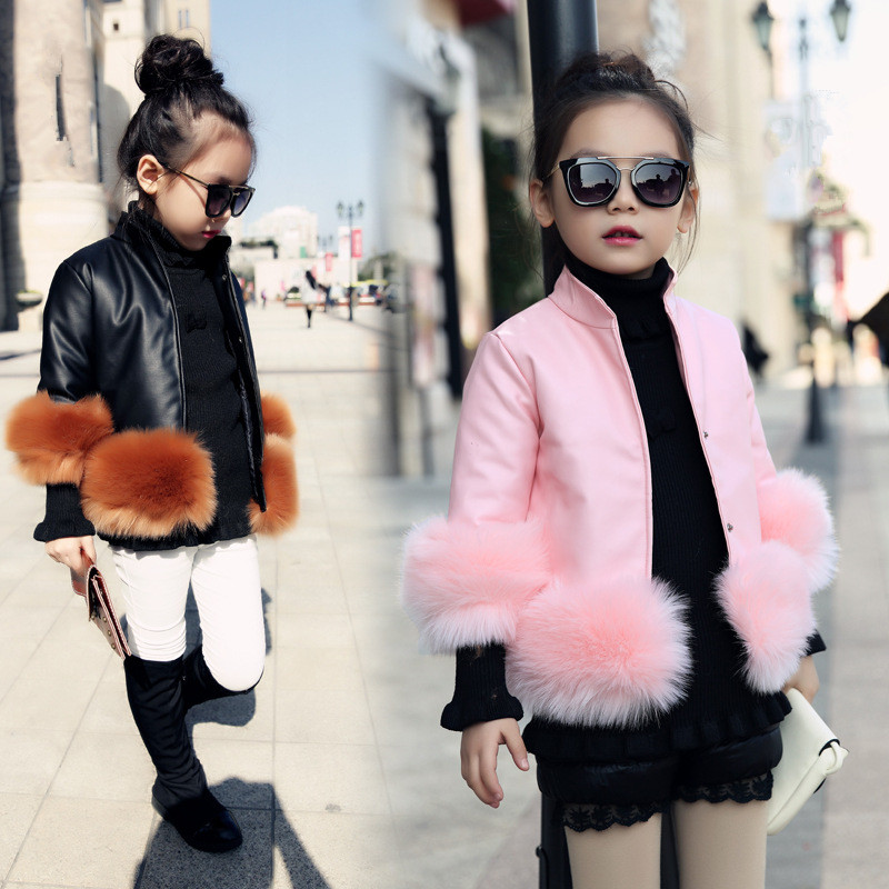 2017 New Design Girls Autumn Winter Jackets PU Faux Leather Fur Coat Kids School Jacket Kids Fashion Solid Color PU Clothes<br>
