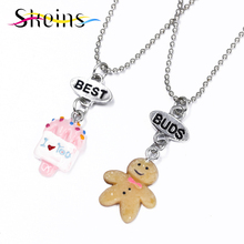 Skeins BFF Jewelry 2pcs Set Best Buds Charms Pendants Necklace Japanese Cartoon Cookie doll love Popsicle Kids Necklace Set