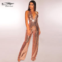 e156506f5d6b Beyprern Sparkle Overlay Sequins Jumpsuits Overalls Glitter Sexy Plunging V  Neck Wide Leg Sequins Rompers Bodysuits Clubwear