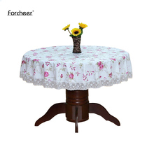Round Pastoral PVC Table Cloth Waterproof Oilproof Floral Printed Lace Edge Plastic Tablecloths Anti Hot Table Covers for Home