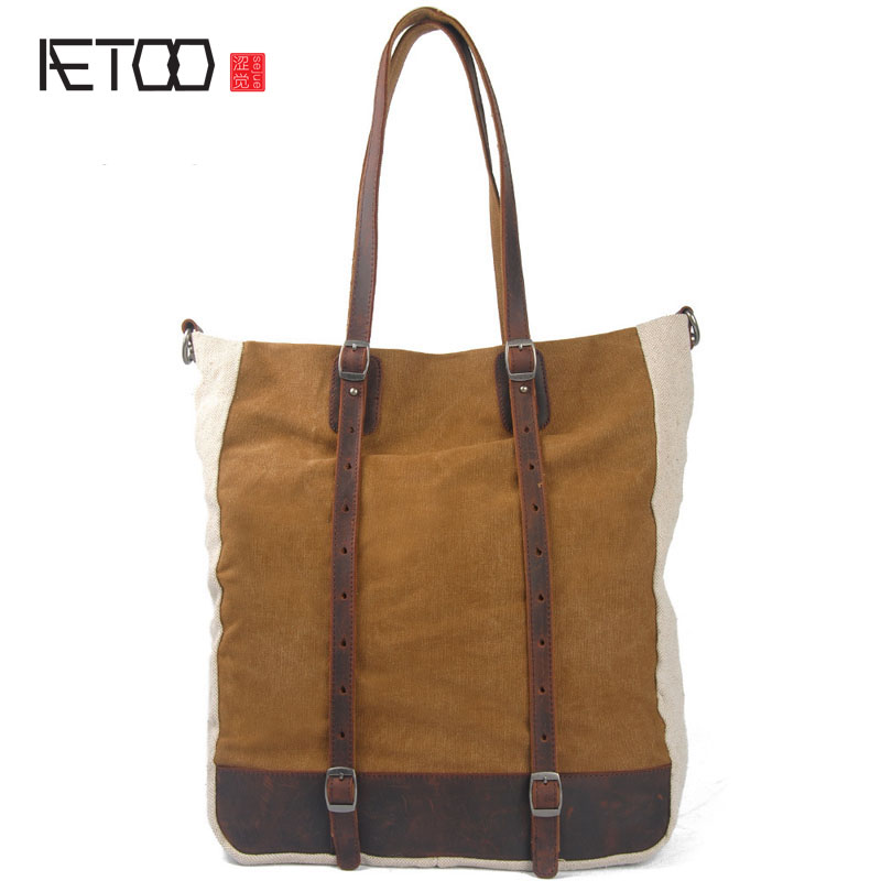 AETOO new winter cloth canvas bag Korean casual fashion hit color handbag with leather shoulder bag Mobile Messenger<br>