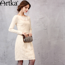 Buy Artka Women's Autumn New Solid Color Knitting&Lace Patchwork Embroidery Dress Slash Neck Long Sleeve Slim Fit Dress LA11151Q for $77.40 in AliExpress store
