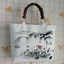 New National Ethnic canvas Ink Scenery hand painting bag vintage  large handbag wood beads white shoulder bag high quality