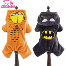 Winter warm Fleece small dog coat clothes jacket funny dog pet Garfield & Batman superhero Costume Coat Jumpsuit jumpers Hoodie