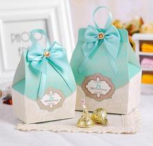 50pcs tiffany blue Candy Box Wedding Favors and gifts Wedding Souvenirs Blue Box With Ribbons wedding decoration centerpieces