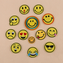 5pcs/lot Cartoon Emoji Smiley Laugh To Tear Embroidery Iron On Patches Clothes Appliques Sew On Motif Badge DIY Clothing Bag