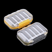 HOT Salling 4.3 x 2.75 x1.2 Plastic Waterproof fly fishing Double Side Clear Slit Foam fly Fishing Box FLY BOX Tackle Case Box