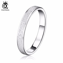 ORSA JEWELS 2017 Fashion Lead & Nickel Free Silver Color Ring with Frosting Surface Elegant Couple Rings Style OR16(China)