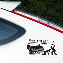 25.25*12.5cm Funny Warning DONT TOUCH MY CAR MINI Car Stickers Window Tail Auto Accessories Bumpers(China)