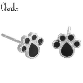 925 Sterling Silver Black enamel Cute Dog Cat Paw Footprint Stud Earring For Women Girls Engagement Gifts Original Fine Jewelry