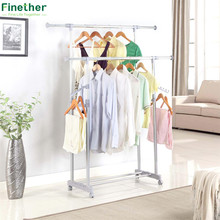 Finether Adjustable Rolling Garment Rack Clothes Storage Organization Drying Hanging Portable Wardrobe Organizer for cosmetics(China)