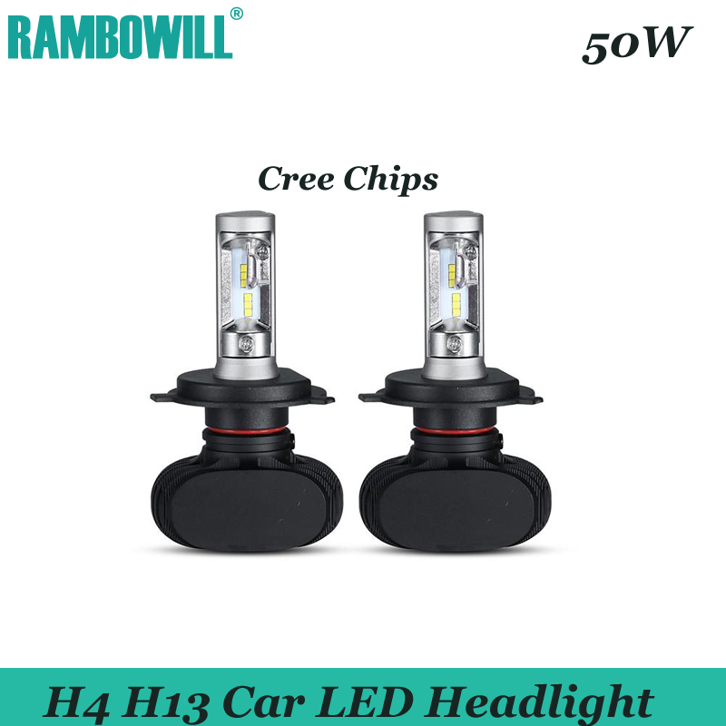 2 x 50W H4 H13  CSP LED Car Headlight Bulbs CREE Chips Hi-Lo Beam 8000LM 6500K Auto LED Headlights Driving Light For 12V Vehicle<br><br>Aliexpress