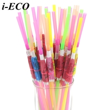 50PCS 3D Umbrella Drinking Paper Straws Flexible Plastic Bendy Straws  Kids Birthday Wedding Party Decoration Drinking Straws