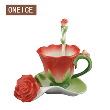 3D Enamel ceramic coffee cup saucer set European-style bone china wedding birthday Valentine's Day gift Peacock Cup(China)