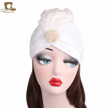 2017 New women Rhinestone Embellished Feather Turban Vintage Flapper Dress Headpiece Diamante Great Gatsby Hat hair accessories(China)
