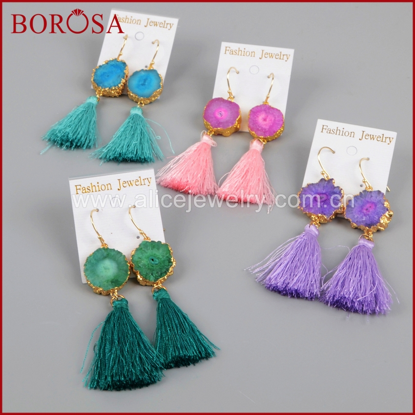BOROSA Gold Color Rainbow Solar Quartz Colorful Tassel Earrings, Fashion Mix Color Druzy Drop Earrings Dangle Earrings G1238