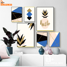 COLORFULBOY Black Blue Gold Thread Pineapple Nordic Abstract Wall Art Canvas Painting Print Poster Home Decor Pop Wall Pictures(China)