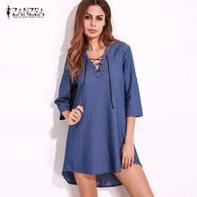 2017 ZANZEA Womens 3/4 Sleeve Lace-Up V Neck Asymmetric Dress Plus Size Denim Blue Loose Shirt Dress Shift Dress Vestidos