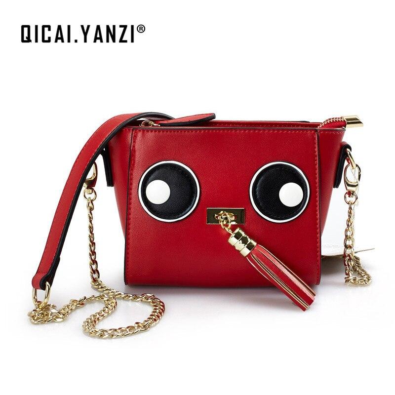 QICAI.YANZI Ladies Luxury Leather Tassel Messenger Crossbody Bags Women Unique Flap Cute Eye Chain Shoulder Bag Bolso Mujer Z811<br>