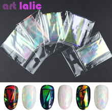 5 Sheets 3D Holographic Starry Sky Glitter Foil Finger Nail Art Sticker Rainbow Mirror Stencil Decal DIY Manicure Design Tools(China)