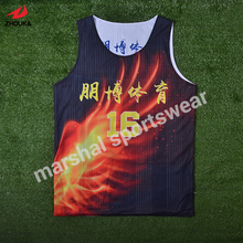 lastest design OEM team basketball jersey reversible double mesh 100%polyester cheap(China)