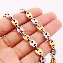 "7""-40"" Coffee Beans Link Chain for Men Women Necklace Bracelet New Male Thick Long Stainless Steel Jewelry Silver Gold Color"