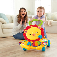 Original FISHER-PRICE Baby Walker Lion Car Children Walk Learning Toy Musical Baby Walker Aith Wheels Adjustable Car(China)