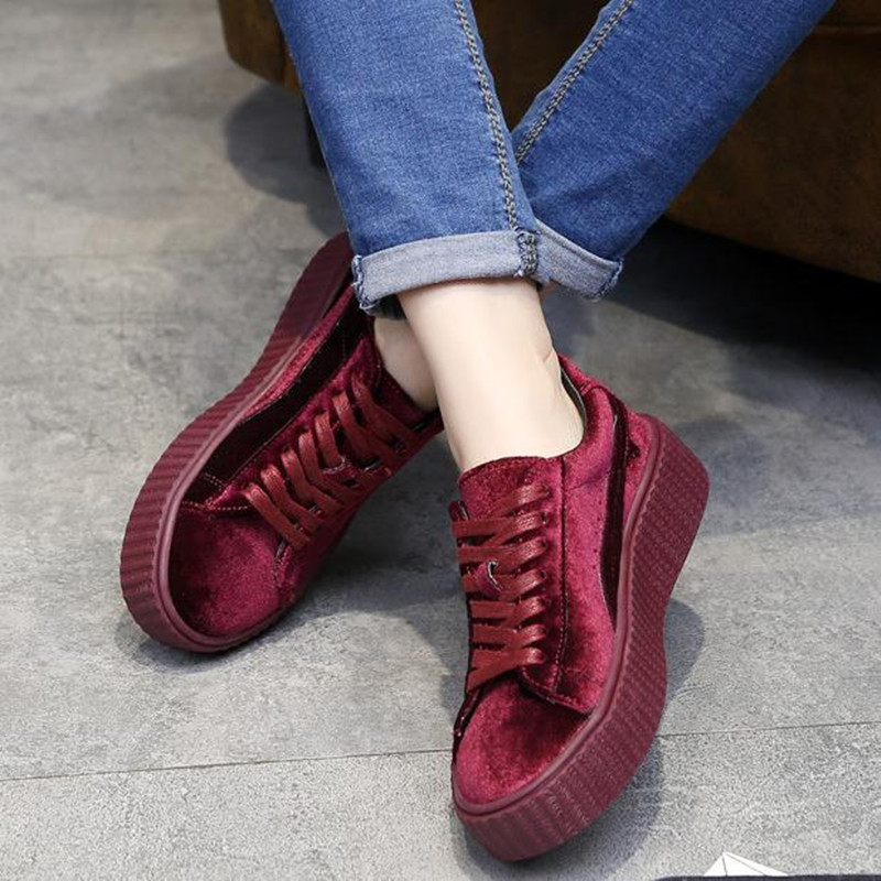 Fashion Wine red, black velvet thick bottom lace-up Platform shoes Flat with casual shoes Women Shoes zapatos mujer huarche<br><br>Aliexpress