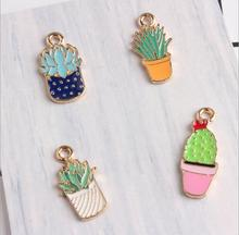 Drops of oil 1 piece cactus charms metal pendant fit for necklace bracelet multicolor lovely potted plant cactus DIY accessories(China)