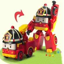 1 pcs baby toy car model change to robot mini cool fire fighting truck  kids favorite toy child best gift 8cm