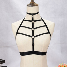 Buy JLX.HARNESS Goth Body Harness Cage Sexy Lingerie Black Elastic Adjust Tops Halter Bondage Bra Fetish Erotic Body Harness belts