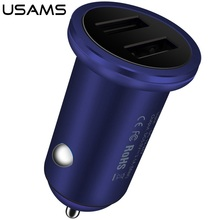 USAMS Brand Luxury Aluminum 3.1A Fast Charging Dual USB Car Charger Adapter For iPhone 7 /For Samsung Universal CellPhone Tablet(China)