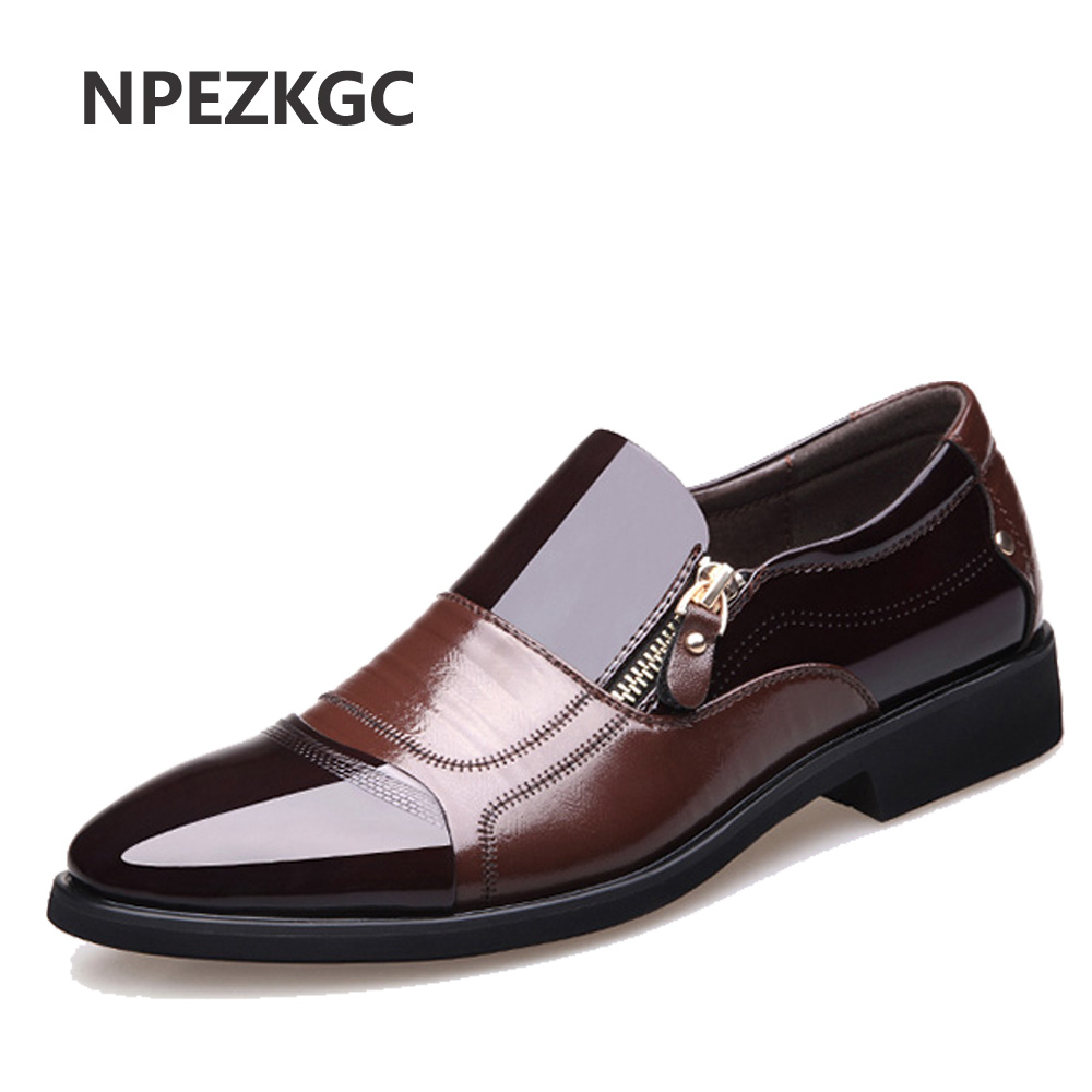 NPEZKGC New Spring Fashion Oxford Business Men Shoes Genuine Leather High Quality Soft Casual Breathable Mens Flats Zip Shoes<br>