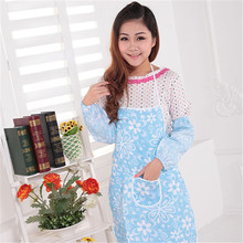 Printed Aprons 2015 fashion flowers double waterproof apron Country style kitchen apron and easy to clean 73*54cm 105g H-13(China)
