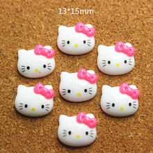 Lot 100 pcs Cute Resin Hello Kitty Hotpink Bow Cabochon Flatbacks for DIY Scrapbooking Hair Bow Center,RC11002(China)