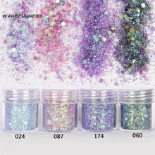 1 Box Pink Purpel ColorNail Glitter Dust Fine Mix 3D Nail Sequins Acrylic Glitter Powder Large Nail Art Tips Decoration10ml(China)