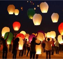 200pcs/lot White Paper Chinese Lanterns Fire Sky Flying Paper Candle Wish Lamp for Birthday Wish Party Wedding Decoration(China)